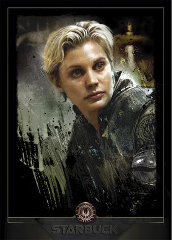 Katee Sackhoff as Starbuck in Battlestar Galactica. Rough 'n ready.