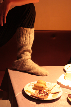 Faroese delicacies... and a sock, also a Faroese speciality...