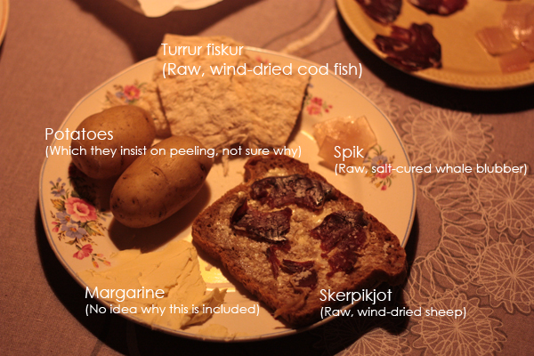 Faroese delicacies, helpfully labelled for your delectation. I ate it all!