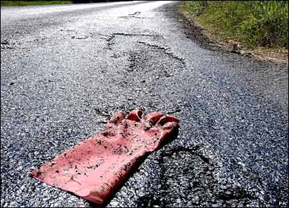 Melted tarmac, somewhere in Britain. Courtesy of the BBC.