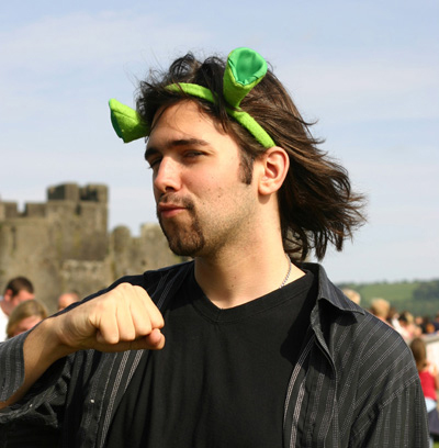 Seb, at the Big Cheese festival in Wales... with Shrek ears.
