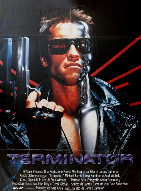 Arnold Schwarzenegger, Terminator 1, half man, half cyborg! From an original film poster.