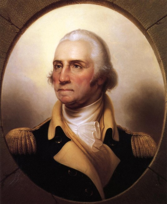 Portrait of George Washington, first president of the USA, by Rembrandt Peale.