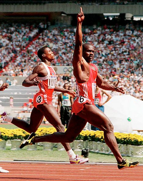 Carl Lewis and Ben Johnson. Carl Lewis was my hero for a very long time. Here Ben is winning the 100m -- the gold medal that was later stripped from him by disqualification.