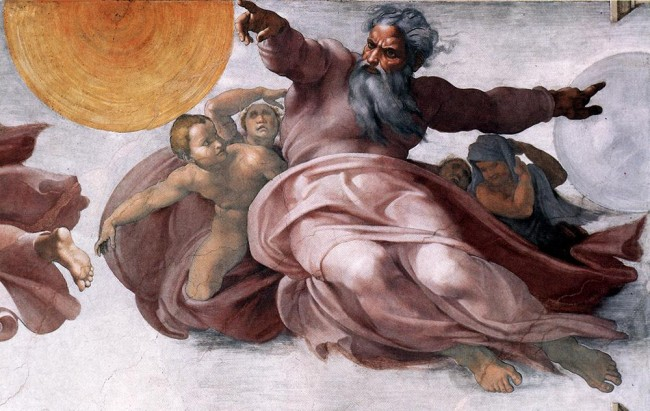 The Christian God -- Creation of the Sun and Moon -- Sistine Chapel (Michelangelo!)