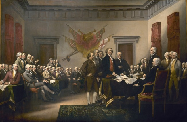 Trumbull's Declaration of Independence. It's 18 by 12 feet in real life -- massive! And the beginning of legitimised, contemporary racism...