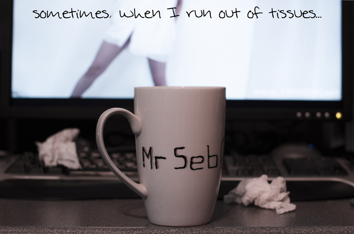 Sometimes, when I run out of tissues... I must resort to the coffee mug.