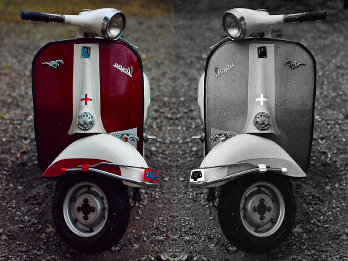Hah... a diptych. No, not really -- I just liked both versions! My sister's Vespa moped.