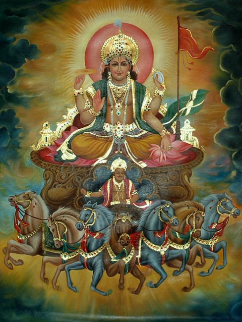 Surya, Vedic god of sun -- Hinduism, the oldest modern religion.