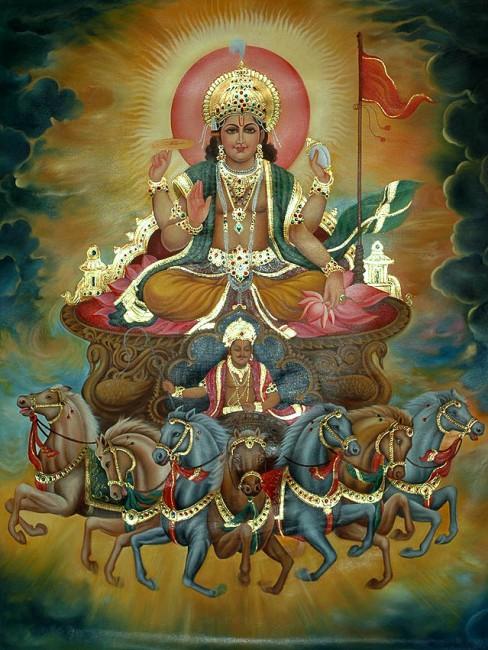 Surya, Vedic god of sun -- Hinduism, the oldest modern religion.