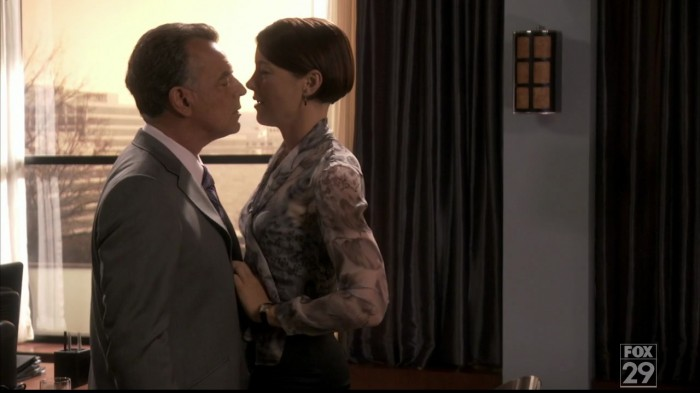 Dewitt gets very close indeed to... that other Dollhouse owner (Ray Wise). Moments before she breaks his balls.