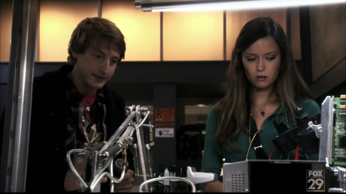 Aw, nerd love -- Topher and Bennett (Fran Kranz and Summer Glau)