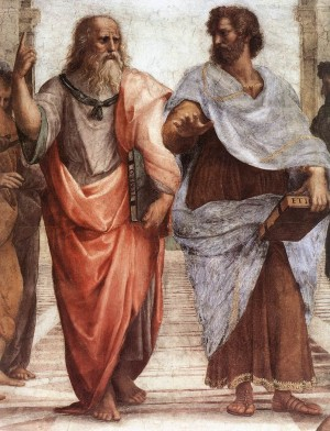 Plato and Aristotle, by Raffaello Sanzio da Urbino -- Raphael. The inventors of soul, kind of.
