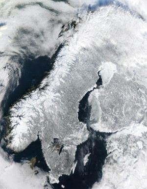 Scandinavia (or rather, the Scandinavian Peninsula) from space, courtesy of NASA (http://en.wikipedia.org/wiki/File:Scandinavia.TMO2003050.jpg)