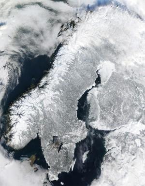 Scandinavia (or rather, the Scandinavian Peninsula) from space, courtesy of NASA (http://en.wikipedia.org/wiki/File:Scandinavia.TMO2003050.jpg)