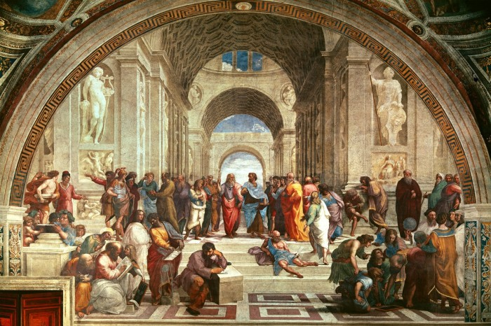 The School of Athens, painted by Raphael in 1509. Plato and Aristotle in the middle.