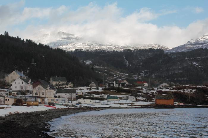 Strandebarm, from the coast of Hardanger Fjord (Jonstein mountain in the background -- Hordaland/Kvam)