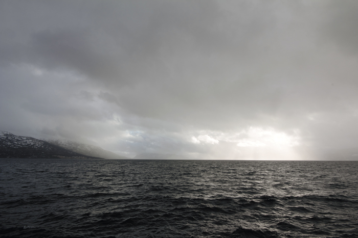 Hardangerfjord, in a beautiful dark, crystaline grey-black