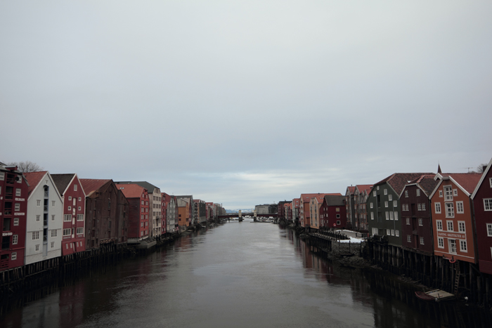 Old town Trondheim, old warehouses on the Nidelva river -- shot from Old Town Bridge!