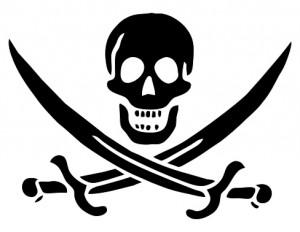 Pirate skull and cross swords... not bones!