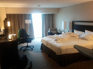 Hilton Anaheim (messy bedroom)